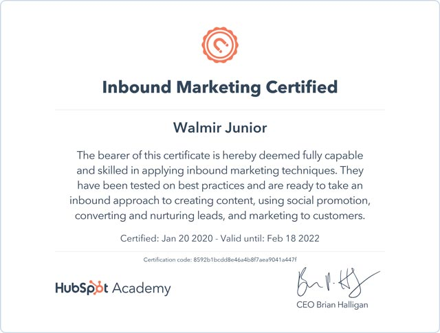 Inbound Marketing Certificado - Hubspot