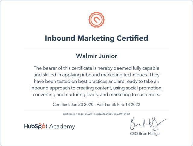 Inbound Marketing Certificado - Hubspot